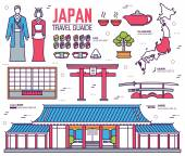Country Japan trip of goods places and features in thin lines style design Set of architecture fashion people items nature background concept