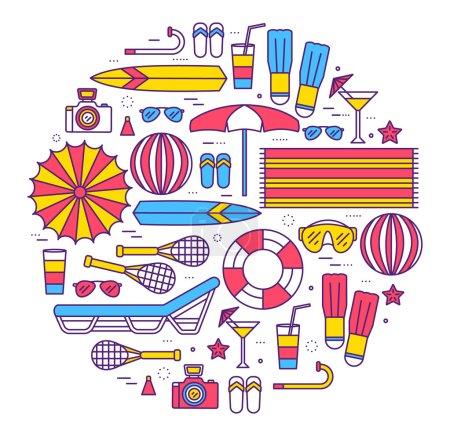Illustration pour Concept de cercle de vacances d'été dans la conception de style lignes minces. Parapluie, bouée de sauvetage, plongée, équipement, serviette, océan, fournitures, paysage . - image libre de droit