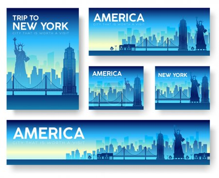 USA landscape vector banners set. Vector design illustration