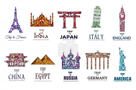 Set of ornamental travel on ethnic floral style design. Architecture art with logo, label. Historical monuments of France, India, Japan, China, Egypt, Russia, England, Italy, USA, Germany, Mexico