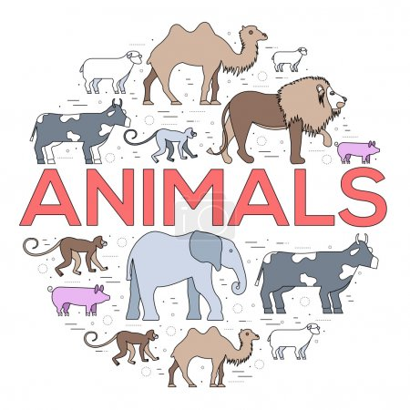 Illustration for Zoo circle. Zoo animals. Zoo image. Zoo picture. Zoo jpg. Zoo eps. Zoo set. Zoo concept. Zoo design. Zoo thin line. Zoo outline. Zoo cover. Zoo vector. Zoo background. Zoo stock. Zoo art. Zoo element. - Royalty Free Image