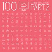 Vector illustration of part 1 of set 100 thin lines icons pictogram
