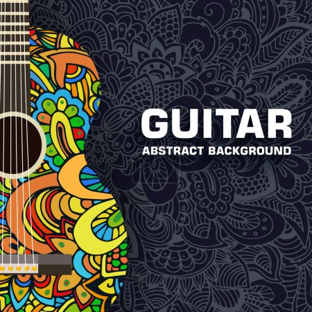 Abstract retro music guitar