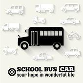 Flat school bus background illustration concept