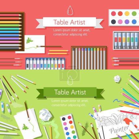 Illustration pour Atelier de peintre d'art plat avec fournitures de peinture équipement outils fond - image libre de droit