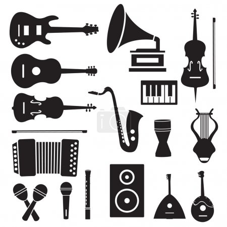 music instruments icons pictograms background