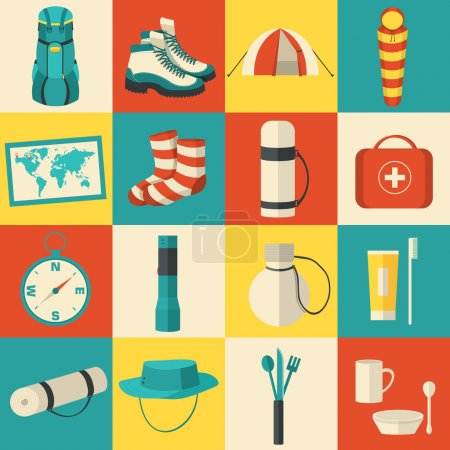 Illustration for Flat sticker colorful vector tourist equipment icons illustration - Royalty Free Image