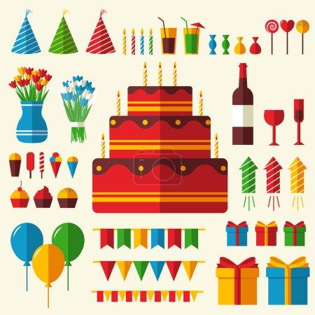 Illustration pour Appartement joyeux anniversaire fond festif avec des icônes confettis ensemble. Éléments de design fête et célébration : ballons, confettis, gâteau, boissons, concept cadeaux - image libre de droit