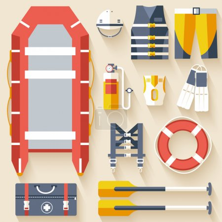 emergency service paramedic lifeguard equipment tools. On flat style background concept. Vector illustration for colorful template for you design, web and mobile applications