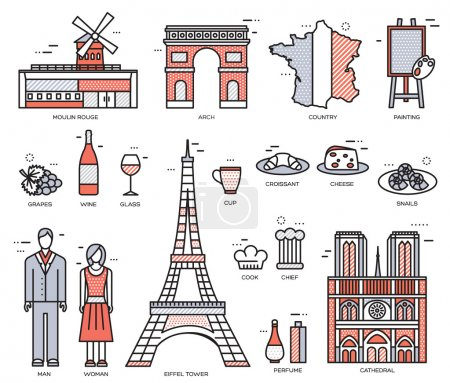Illustration for Country France trip guide of goods, places in thin lines style design. Set of architecture, fashion, people, nature background concept. Infographic template design for web and mobile on vector flat - Royalty Free Image