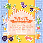 Farm equipment elements on background poster in sticker style design Instruments flowers vegetables fruits hay farm building animals tractor tools clothing Vector template card illustration