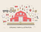 Organic farm in village set and tile in thin lines style design instruments flower vegetables fruits hay farm building animals tractor tools clothing Vector illustrations background concept