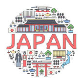 Country Japan travel vacation guide of goods places and features Set of architecture fashion people items nature background concept Infographic template design for web and mobile on thin lines