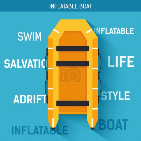 Boat for rafting or swimming on the water. Vector icon illustration background. Colorful template for you design, web and mobile applications concept