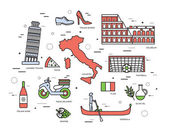 Country Italy trip guide of goods places in thin lines style design Set of architecture fashion people items nature background concept Infographic template for web and mobile on vector flat