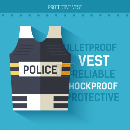 Bulletproof vest protective.  Vector icon illustration background. Colorful template for you design, web and mobile applications concept
