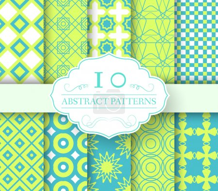 Illustration for Collection set abstract swatches seamless pattern.  Endless texture, minimalistic, universal, print with label logo concept. Vector template for greeting card or invitation design background - Royalty Free Image