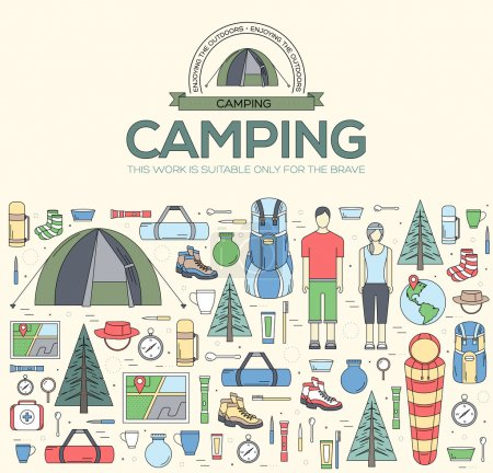 Illustration for Camping equipment set circle infographics template concept. Icons design for your product or design, web and mobile applications - Royalty Free Image