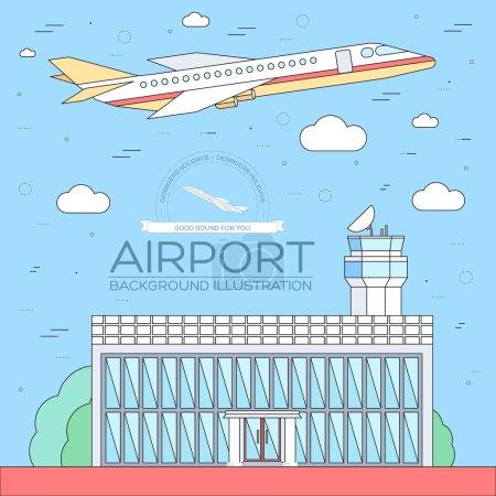 plat aéroport de construction avec le plan de vol tournée concept background. Vector illustration pour le modèle coloré pour vous applications web et mobiles. Les lignes minces style design