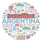 Country Argentina travel vacation guide of goods places and features Set of architecture fashion people items or nature background concept Infographic template design On thin lines style