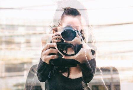 Double exposure of girl portrait taking photos