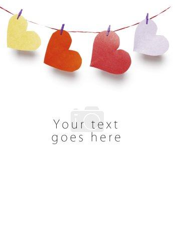 Hung paper hearts greeting card