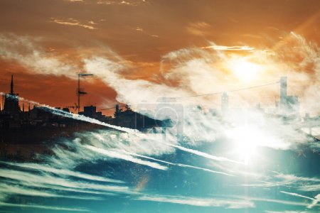 Photo for Double exposure of cityscape at sunset and clouds - Royalty Free Image