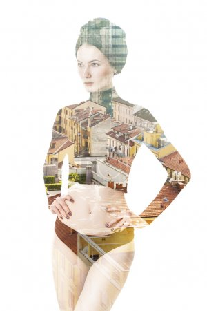 Double exposure of beautiful woman and cityscape