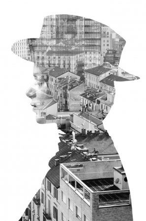 Double exposure of girl wearing hat and cityscape monochrome