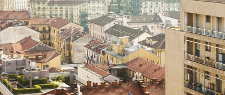 Milan colorful cityscape seen from above letterbox