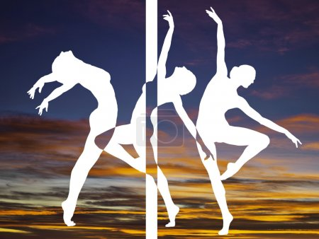 Double exposure of dancer silhouettes and sunset colorful clouds
