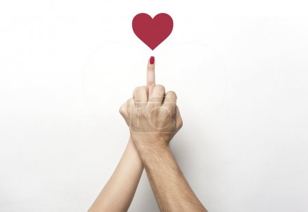 Photo for Middle finger gesture with red heart - Royalty Free Image