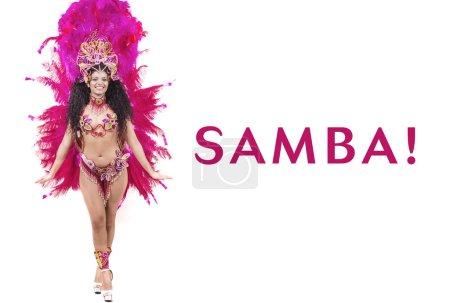 Samba - beautiful woman wearing traditional pink costume