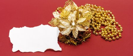 Christmas card with golden flower decoration letterbox