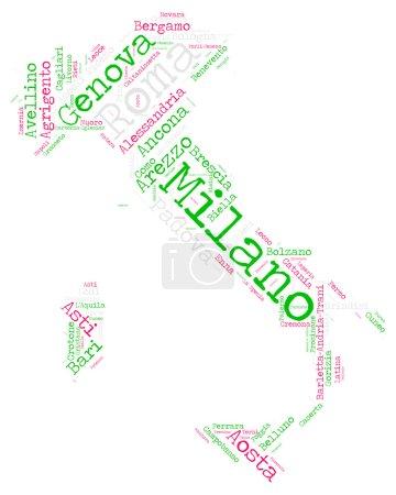 Italian cities tag cloud