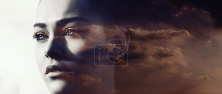 Photo for Double exposure of beautiful girl and red cloudscape letterbox - Royalty Free Image