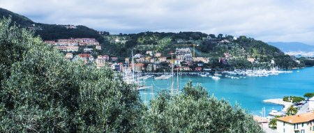 Spring seascape and village in Liguria, Italy letterbox