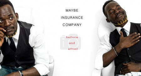Satisfied businessman portrait - insurance company before and af