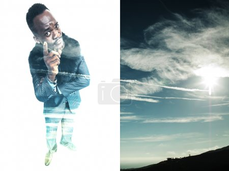 Double exposure of funny businessman and cloudscape