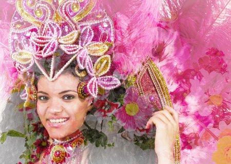 Double exposure of beautiful samba dancer and flowers