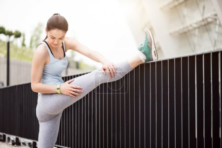 Woman stretching before some exercises