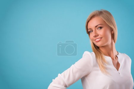 Lovely blonde wearing white blouse