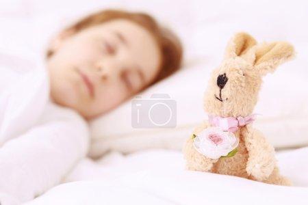 Pretty little girl sleeping well