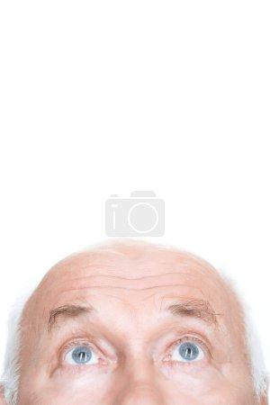 Nice grandfather keeping his glance up