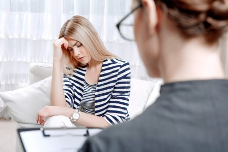 Patient at psychological therapy session