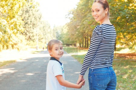 Mother and son during walk