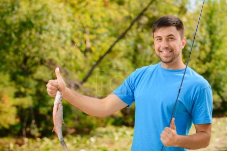 Pleasant man fishing