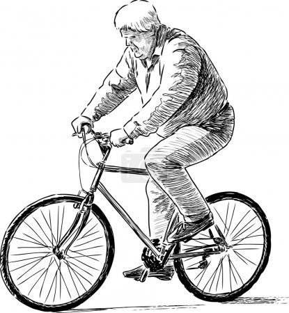 Illustration for Vector drawing of a senior rides on a bike. - Royalty Free Image
