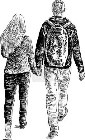 jeune paire marche