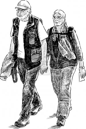 elderly couple of tourists